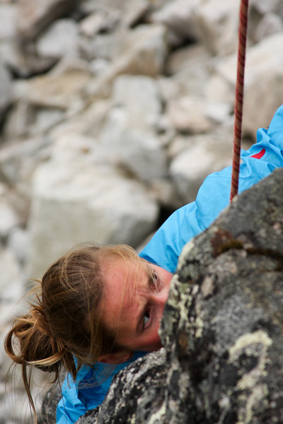 Intensity grows as Katie Coan reaches the higher crux on this 5.8.