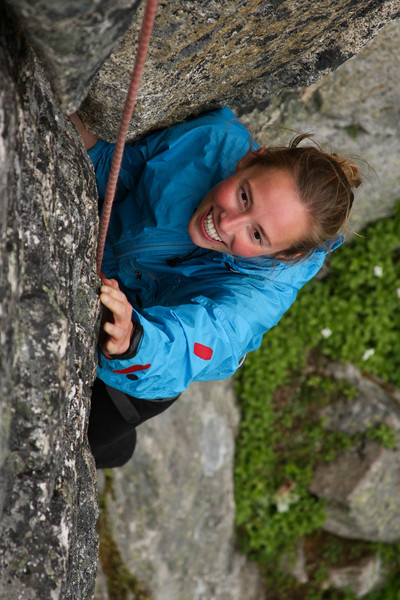 Tough moves don't create any frustration for Katie as she struggles through the crux.
