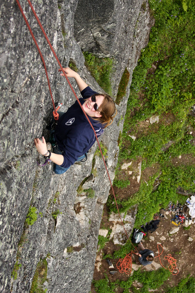 Jess Young gives off a grin from halfway up the first pitch of <i>Toto 5.7</i>.