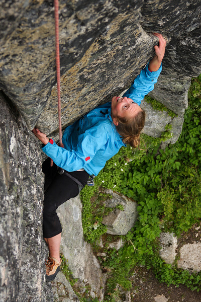 Pressures and angles and technique combine to keep Katie Coan on the rock as she moves through a crux section.