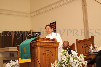 The Reverend Sandra Biassey-Mantz, pastor of United Methodist Church, gives the keynote address during the Dr Martin Luther King, Jr. Program at Bethel Missionary Baptist Church in Wappingers Falls, New York on January 18, 2009