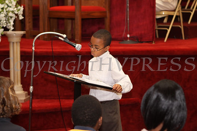 William Hollaway reads quotes from Martin Luther King, Jr. during the Dr Martin Luther King, Jr. Program at Bethel Missionary Baptist Church in Wappingers Falls, New York on January 18, 2009