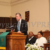 Rev. William Dalrymple, pastor of Community Baptist Church, introduces the keynote speaker during the Dr Martin Luther King, Jr. Program at Bethel Missionary Baptist Church in Wappingers Falls, New York on January 18, 2009