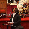 Dorena Robinson, President of the Black History Ministry offers the welcome during the Dr Martin Luther King, Jr. Program at Bethel Missionary Baptist Church in Wappingers Falls, New York on January 18, 2009