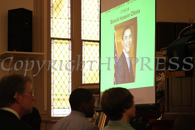 A picture of President Barack Hussein Obama is displayed during the Dr Martin Luther King, Jr. Program at Bethel Missionary Baptist Church in Wappingers Falls, New York on January 18, 2009