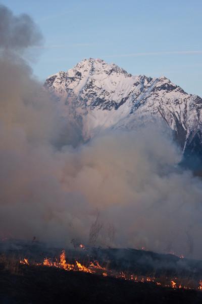 Heavy smoke blocks out the view of Pioneer Peak.