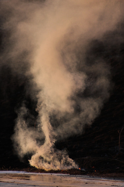 A small whirlwind caused by a smoldering hotspot.  Often in a wildfire, such whirlwinds can turn to firewhirls, literal tornadoes of fire that can run right across a fireline.