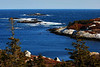 Day 346 (1/2) - Polly's Cove<br /> <br /> This cove is not too far down the road from Peggy's Cove.  Its about a 1K walk up some small inclines which eventually you arrive on top of one of the cliffs about 70ft/25m above the cove.  Peggy's Cove Lighthouse would be located to the right (not in this photo).  It was the first time there, with lots of ice still around on the trails, it was a little tough to explore.  (I landed on my butt, slipping on leaves under the snow, not the ice - go figure).<br /> <br /> Geologists dated the rocks/erratics and large white granite back to the Ice Age.  They even traced the origin of the rock to South Africa.   Nova Scotia traveled a long way over millions of years.  As the glaciers moved over the rock, minerals were ground into the marble.  Its very interesting to see.   Trees don't really grow that high here. Locals refer to this area as the barrens - mostly stunted growth and lots of cranberry bogs.<br /> <br /> I didn't know at the time, there were three harbour seals sunbathing on the farthest rock.  Seals are very elusive and move quick.  They really hide from man. If you spot one, they have already picked up your scent and begin to disappear.<br /> <br /> Funny thing happened while cruising the other coves around St Margaret's Bay, I saw a male Merganser, all in breed colors showing off for some brown ducks.  I think he was a bit confused.  hehe  He got the hint soon enough and flew from the area.<br /> <br /> Mar 14 2009