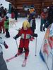 "Maija with her pink ""Hello Kitty"" skis!<br /> <br /> Jura mountains - Switzerland"