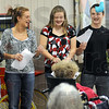 Havin' fun: Members of the ASTRA Club have a funny moment as they sing for residents of Royal Oaks Thursday evening. From left they are, Mikayla Morrison, Tori Thorlton, Courtney Sipes, John Rodgers and Brittany Gibson.