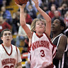 Warrior: Woodrow Wilson 6th grader #3, Braxton Poore makes a move to score during game action against Sarah Scott Thursday evening.