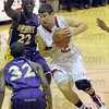 Hard: Marshall's #32, Taylor Duncan takes the ball to the basket during recent game action.