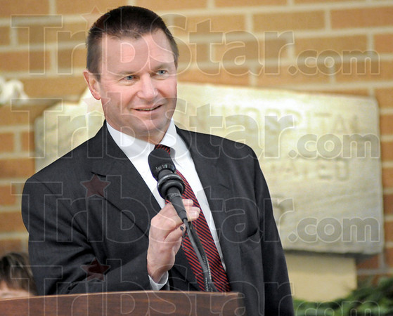 Welcome: Union Hospital president David Doer speaks during the opening ceremony at Union Hospital East Sunday afternoon.