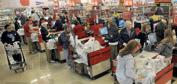 Busy: Baesler's Market was full of shoppers preparing for the holiday season Sunday afternoon.