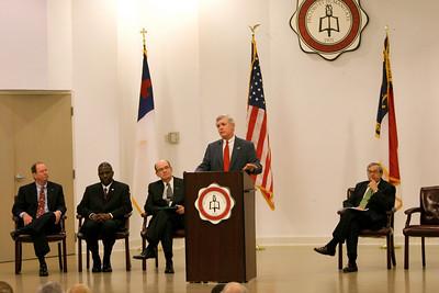 Lt. Governor Walter Dalton addresses Blanton Auditorium to announce Gardner-Webb University to serve as a host hub for SBTDC.