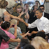Tribune-Star file photo/Joseph C. Garza<br /> Welcome to Terre Haute: President Barack Obama shakes hands with members of the audience upon his arrival in the 4H arena at the Wabash Valley Fairgrounds Saturday, Sept. 6, 2008.