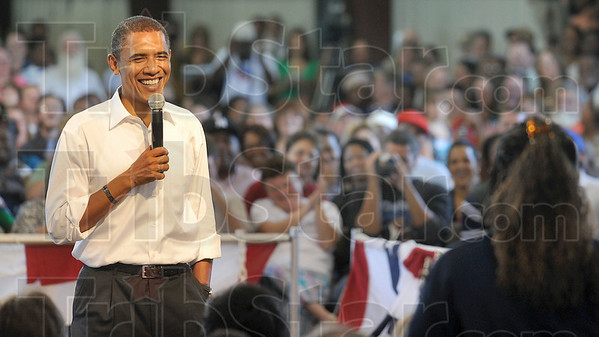 Tribune-Star file photo/Joseph C. Garza<br /> Brings a smile to his face: President Barack Obama smiles as a supporter admits that she doesn't have a question for him during a question and answer session but just wants to publicly pledge her support for candidacy Saturday, Sept. 6, 2008 at the Wabash Valley Fairgrounds.