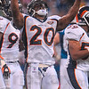 Tribune-Star/Joseph C. Garza<br /> Short lived celebration: Even though Denver safety Brian Dawkins celebrated not one, but two, turnovers off of tipped Peyton Manning passes during Sunday's game, the Colts did not allow the Broncos to score on either offensive turn over.