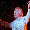 Tribune-Star/Joseph C. Garza<br /> Back among friends: Joe Bonsall of the Oak Ridge Boys welcomes the audience to the group's Wednesday night show at Tilson Auditorium.