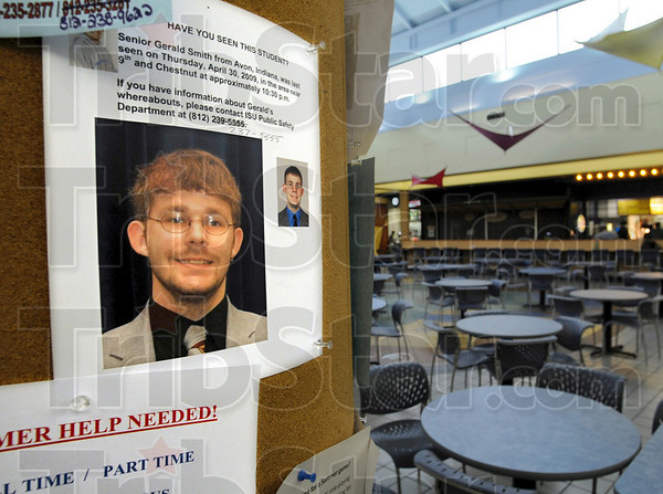 Tribune-Star file photo/Bob Poynter<br /> In search of: A poster in the ISU Hulman Memorial Student Union building food court asks for information about missing student Gerald Smith May 4.