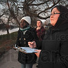Tribune-Star/Joseph C. Garza<br /> Counter space: Indiana State biology majors Mariam Alawoki, Allie Parrish and Kelsey Pearman count crows at Fairbanks Park Monday.