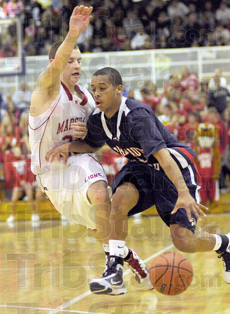 Move: North's #10, Chase Jones drives the ball past a Marshall defender during game action Monday night.