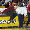 Blast-off: Terre Haute South coach Mike Saylor goes ballistic after an official's call during the second half of play against Sullivan Monday afternoon.
