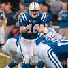 Tribune-Star/Joseph C. Garza<br /> Coded message: Indianapolis quarterback Peyton Manning signals a wide receiver during the Colts' win over Tennessee Sunday in Indianapolis. Manning has thrown for 3,685 passing yards this season.
