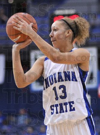 Shot: Deja Mattox launches a shot during game action against Detroit at Hulman Center Tuesday night.
