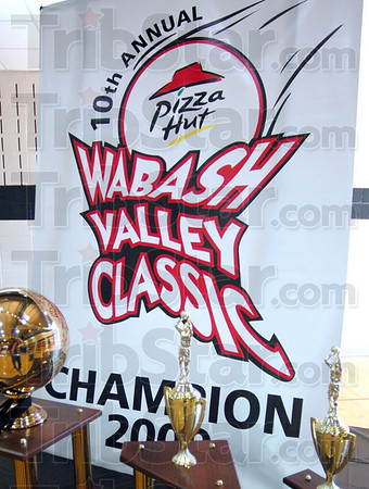 Classic hardware: Team trophies and banner for the 10th Annual Pizza Hut Wabash Valley Classic.