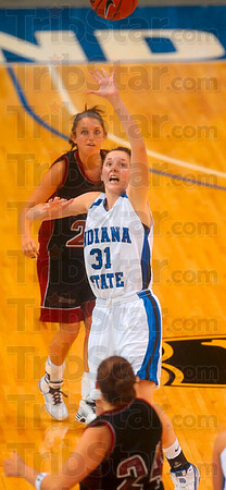 Tribune-Star file photo/Joseph C. Garza<br /> Full court pressure: Indiana State's Kelsie Cooley tries to steal a pass at half court during the Sycamores' win Sunday, Nov. 1 over Bellarmine at Hulman Center.