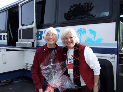Former Mayor of Santa Barbara, Marty Blum and Dee Duncan at the Holiday Happiness send-off.