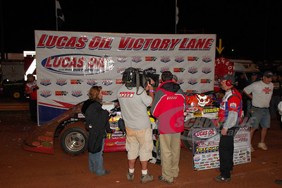 Ray Cook in Victory Lane @ Dixie Speedway being interviewed for SPEED