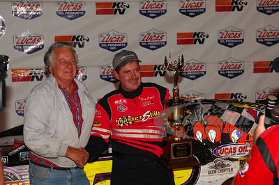 Ray Cook in Victory Lane with Dixie Speedway promoter Mickey Swims