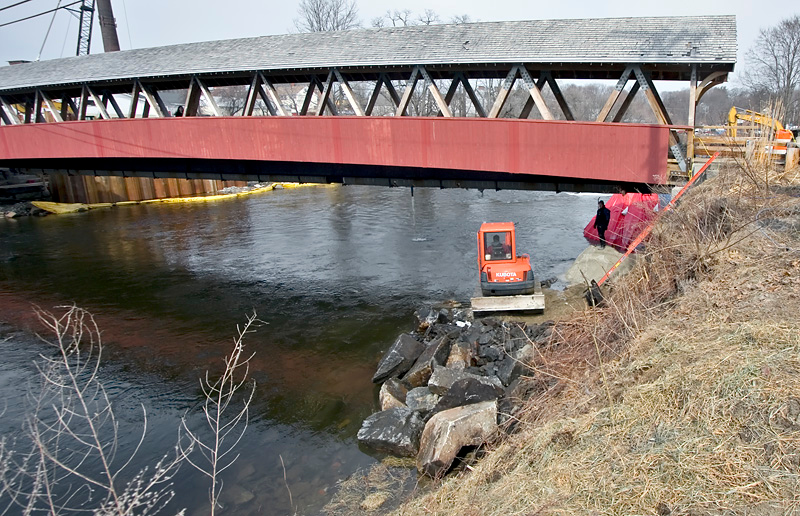 Construction on Covered Bridge crossing the Cocheco River