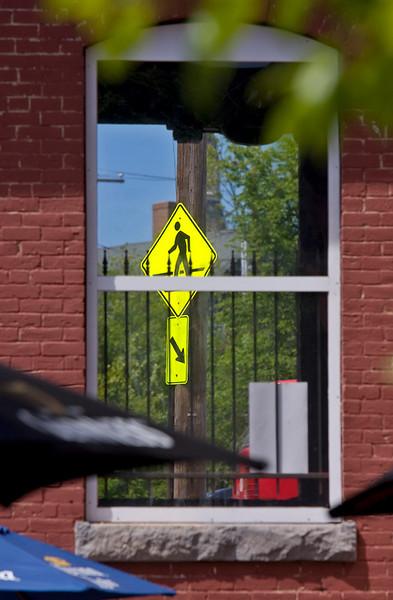Crosswalk Sign at Picker Mill Building