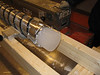 Ice core, drill head and inner core barrel.<br /> <br /> Iskerne, borehoved og det indre kernerør.