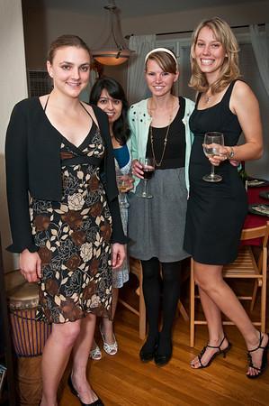 The girls enjoying wine and conversation before dinner