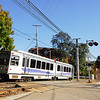 An outbound Port Authority LRV has just passed the Westfield Station in the Beechview Section of Pittsburgh. October 19, 2009.