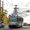 Inbound Pittsburgh LRV entering the streetrunning section in Beechview. October 18, 2009.