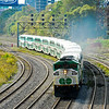 GO Transit's Train 923 smokes through Bathurst St in Toronto.