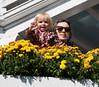 Hannah and Chantal waving from CBC balcony