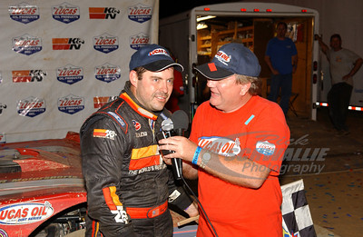 Ray Cook is interviewed by series announcer James Essex in Victory Lane @ Fayetteville Motor Speedway