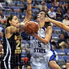 Driven: Indiana State's #5, Shannon Thomas drives the ball to the basket during early action against Wichita State.