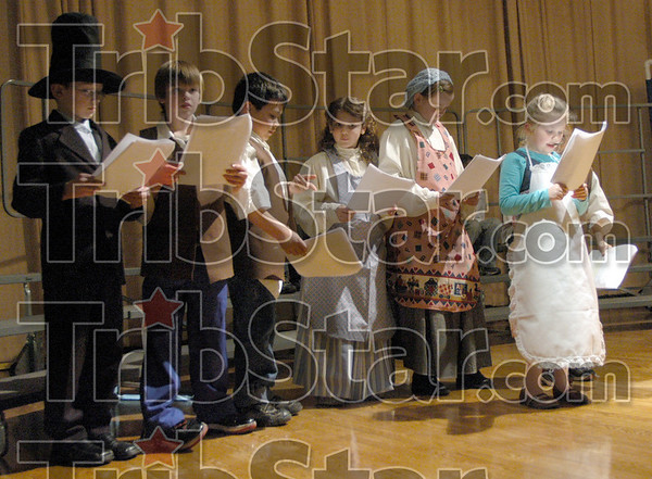 A Letter to Lincoln: Deming students perform an original online Readers' Theater Play from Weekly Reader and excerpts from Abe Lincoln's Hat during Thursday's program at the school.