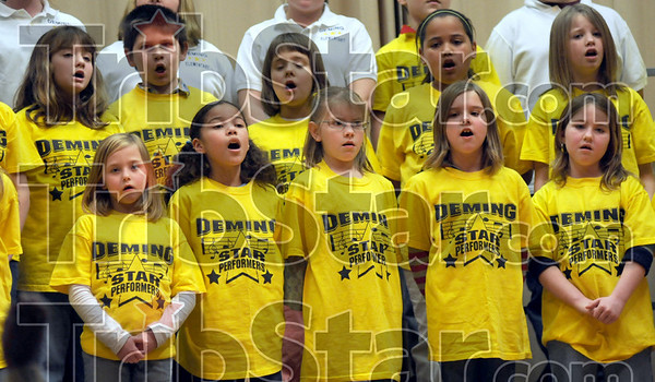 Performers: Members of the Deming Third, Fourth and Fifth Grade Corus perform during Thursday's Lincoln Bicentennial Program.