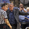 Say what: Indiana State's head coach Jim Wiedie complains  to the official just seconds after the tip-off against Wichita State Thursday night at Hulman Center.