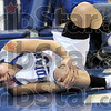 Agony: Indiana State's #3, Kelsey Luna grabs her knee as she goes to the deck during game action against Wichita State Thursday night at Hulman Center.