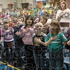 I pledge: Deming Elementary School kids recite the Pledge during the opening of the Lincoln Bicentennial Program Thursday afternoon.