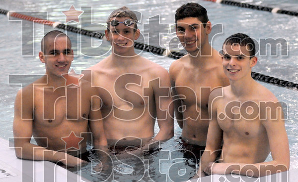 South relay team: Matt Shaver, Addison Bray, Jordan Ellis and Thomas Weber make up the medley relay team that will compete in the swimming state finals this weekend.